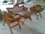 Furniture Kayu Jati Set Kursi Tamu Yuyu Sandaran Lengkung