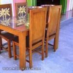 Mebel Minimalis Set Kursi Makan Sandaran Ukir Pohon Kelapa KKS 204