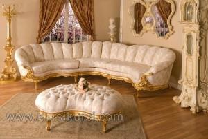 Sofa Bludru Mewah Finishing Emas Mahogani Furniture