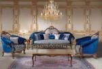 Sofa Mewah Biru Produsen Jepara Furniture Kayu