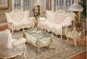 Sofa Set Ukir Finishing Duco Putih