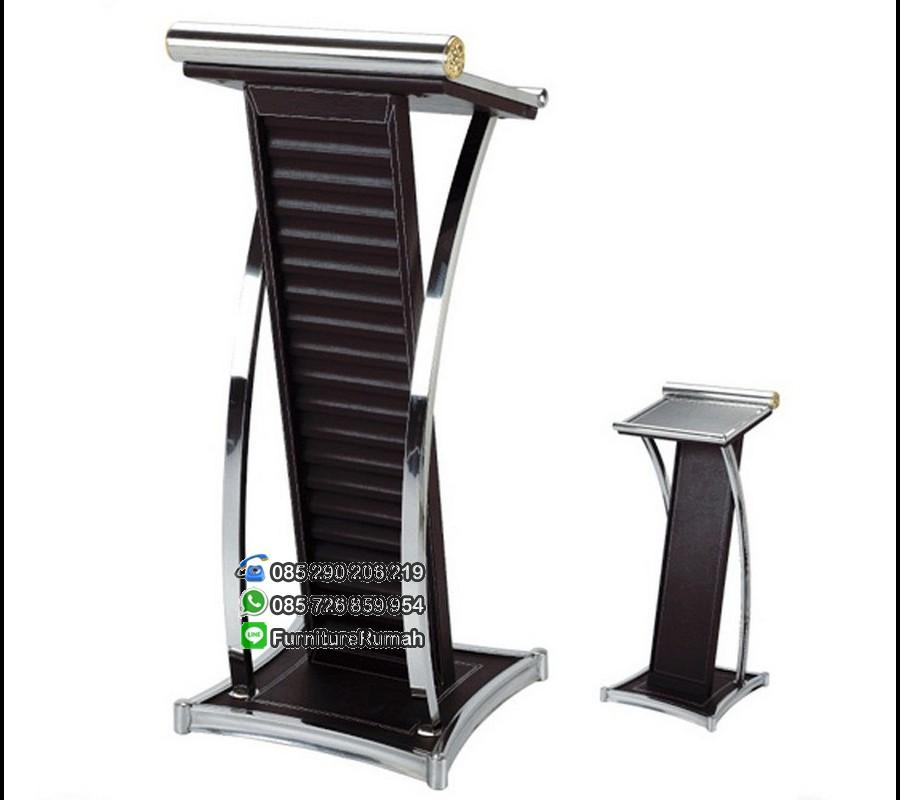Model Podium Mimbar Minimalis Balutan Kulit Sintetis Ringan FK-PM 110