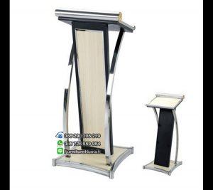 Model Podium Mimbar Minimalis Warna Putih Stainless FK-PM 111