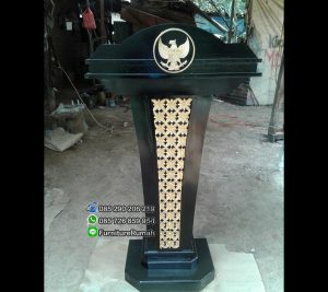 Podium President Kayu Jati Solid Jepara Warna Hitam Emas FK-PM 131